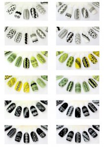 3D Detailed Nail Stickers SKU3DJB06w/ Metal Stones